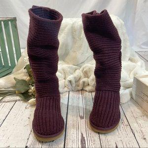 Ugg classic cardy knit button sheepskin boots